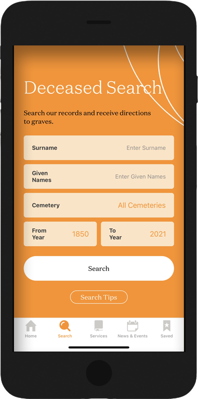 Access Deceased Search from App